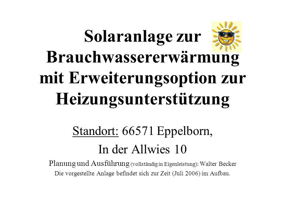 Solaranlage zur Brauchwassererwärmung mit Erweiterungsoption zur Heizungsunterstützung