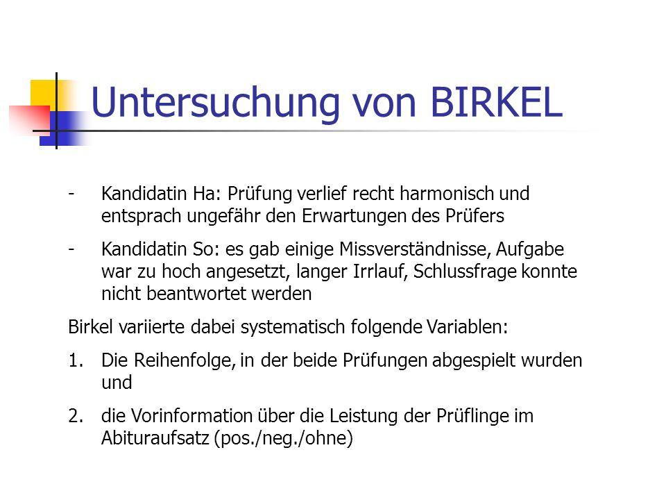 Untersuchung von BIRKEL