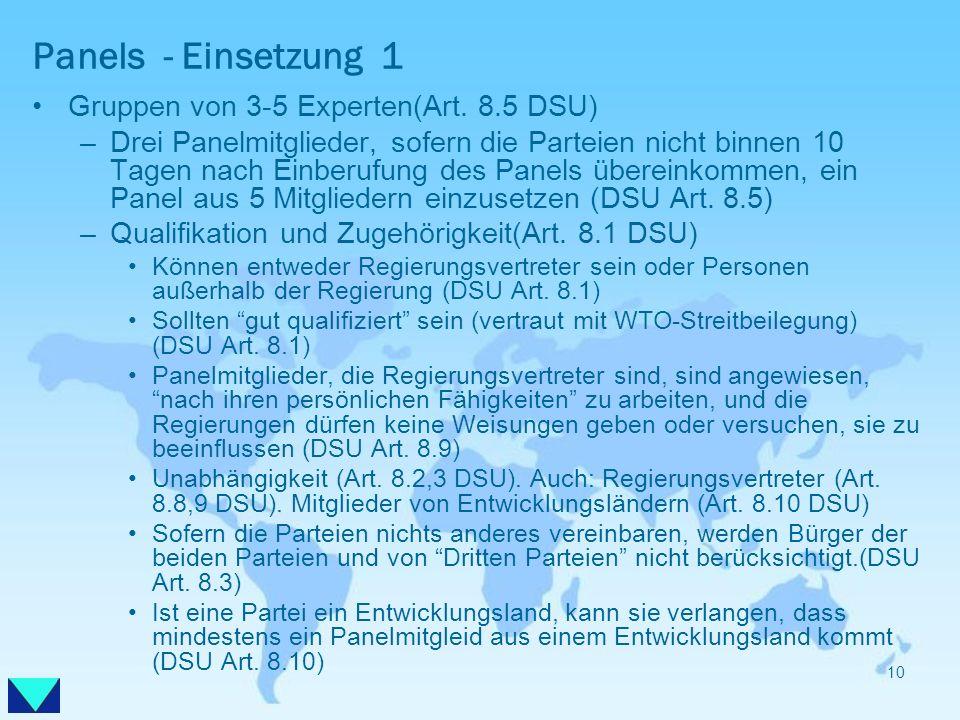 Panels - Einsetzung 1 Gruppen von 3-5 Experten(Art. 8.5 DSU)