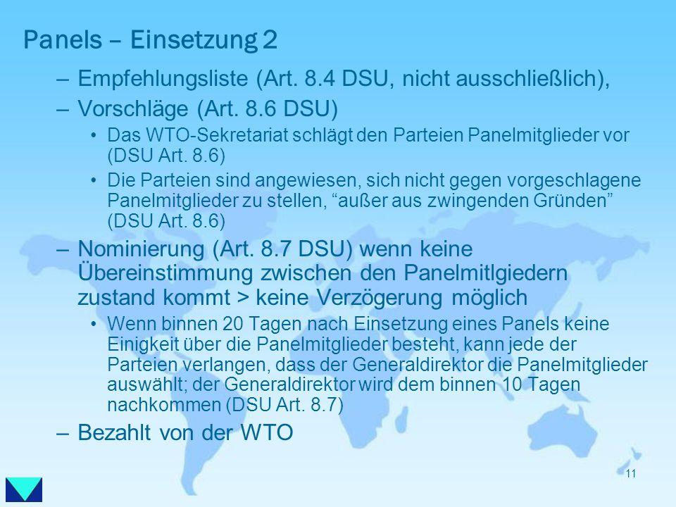 Panels – Einsetzung 2 Empfehlungsliste (Art. 8.4 DSU, nicht ausschließlich), Vorschläge (Art. 8.6 DSU)