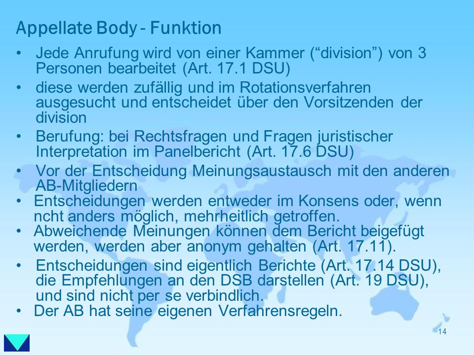 Appellate Body - Funktion
