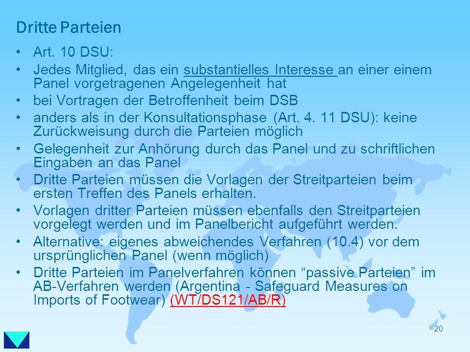 Dritte Parteien Art. 10 DSU: