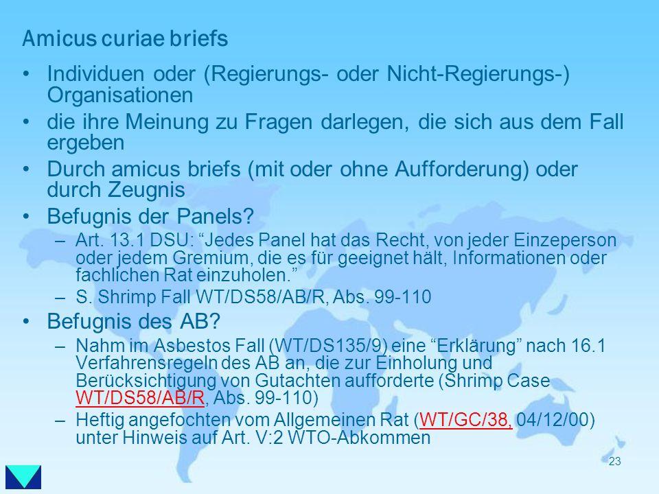 Amicus curiae briefs Individuen oder (Regierungs- oder Nicht-Regierungs-) Organisationen.
