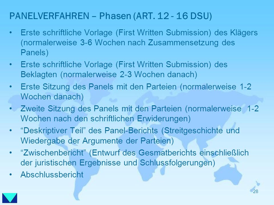 PANELVERFAHREN – Phasen (ART. 12 - 16 DSU)