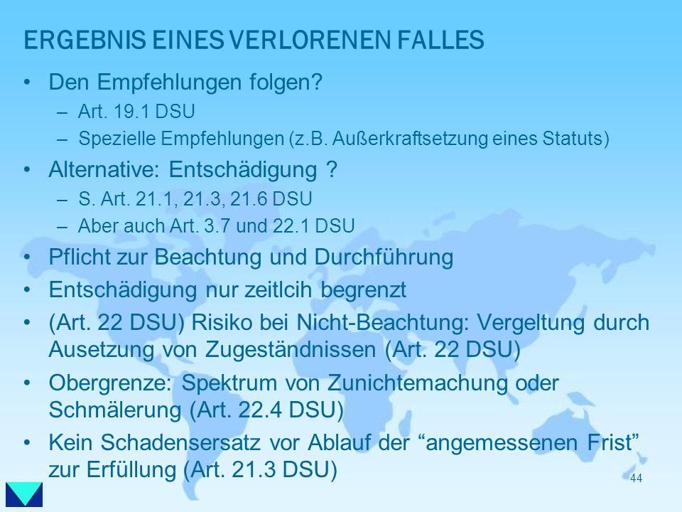 ERGEBNIS EINES VERLORENEN FALLES