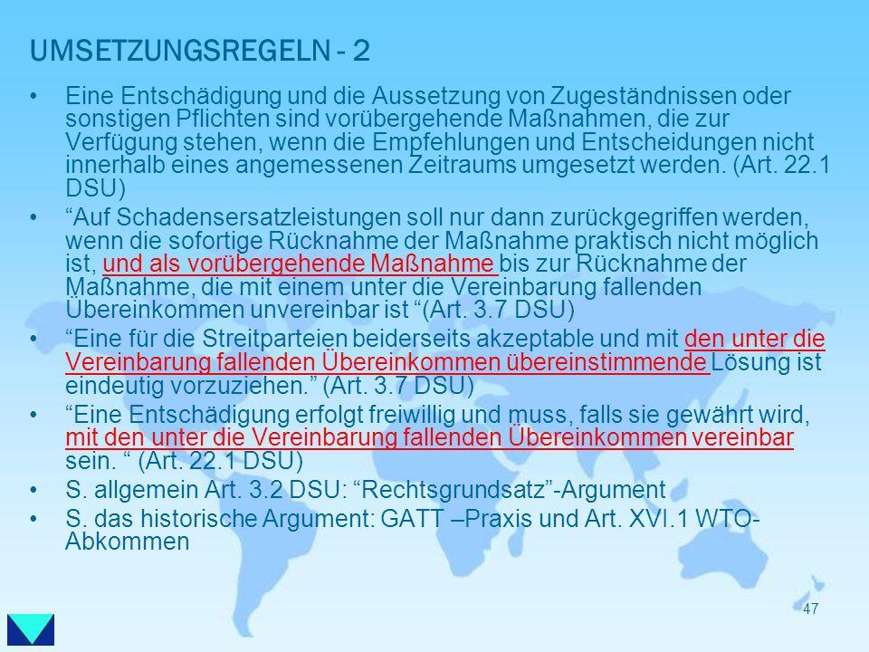 UMSETZUNGSREGELN - 2
