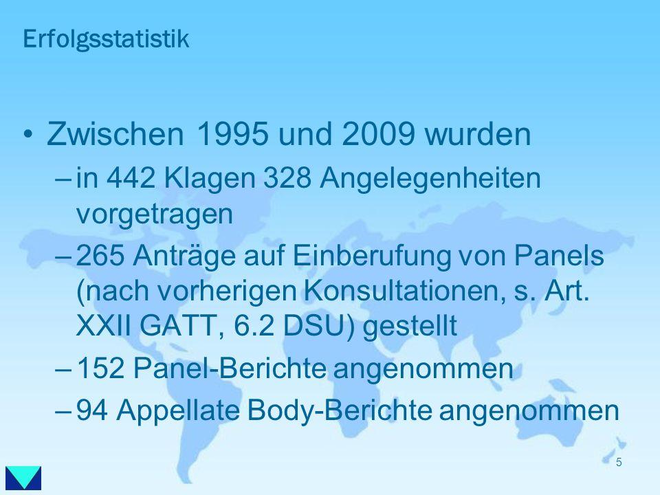ErfolgsstatistikZwischen 1995 und 2009 wurden. in 442 Klagen 328 Angelegenheiten vorgetragen.