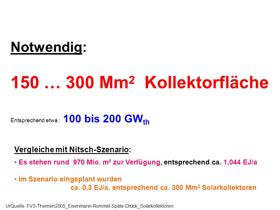 150 … 300 Mm2 Kollektorfläche Notwendig: