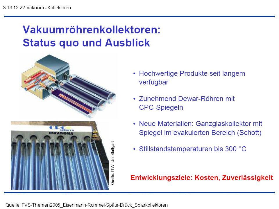 3.13.12.22 Vakuum - Kollektoren Quelle: FVS-Themen2005_Eisenmann-Rommel-Späte-Drück_Solarkollektoren.