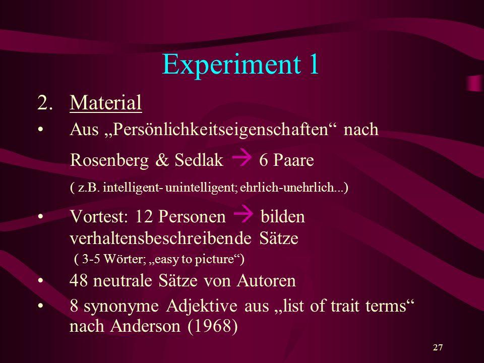 """Experiment 1 Material Aus """"Persönlichkeitseigenschaften nach"""