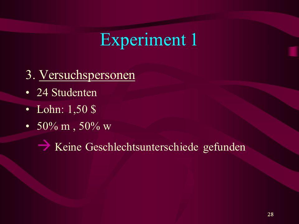 Experiment 1 3. Versuchspersonen 24 Studenten Lohn: 1,50 $