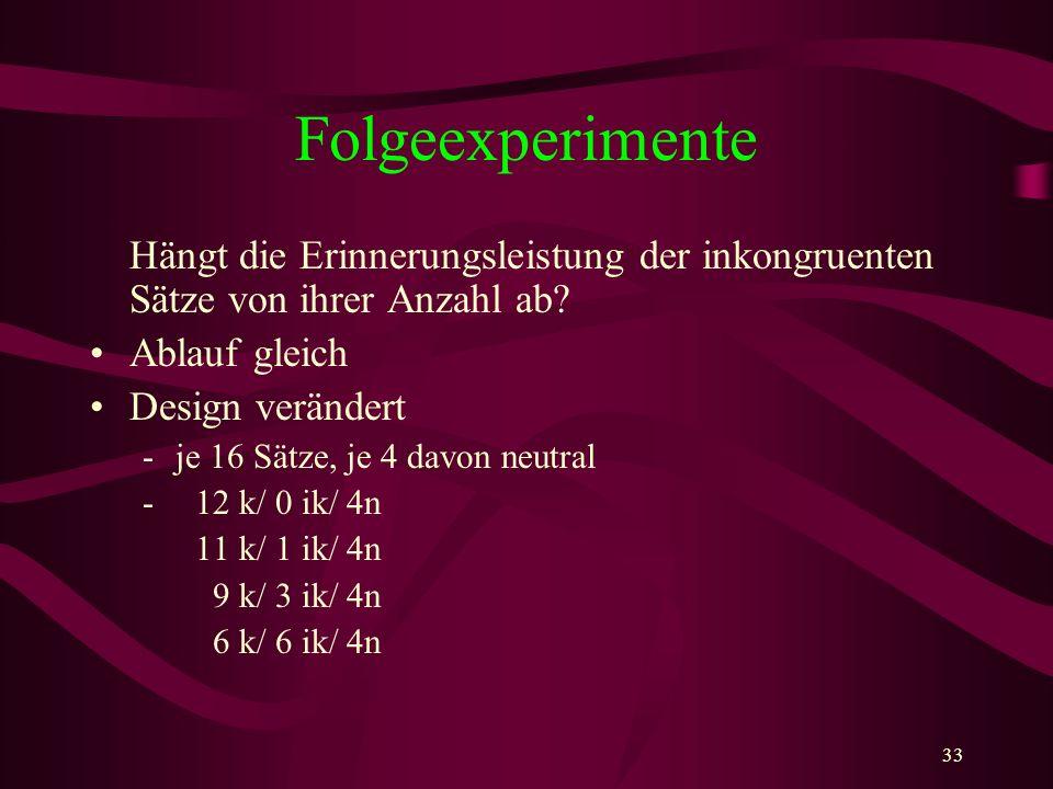 Folgeexperimente Hängt die Erinnerungsleistung der inkongruenten Sätze von ihrer Anzahl ab Ablauf gleich.