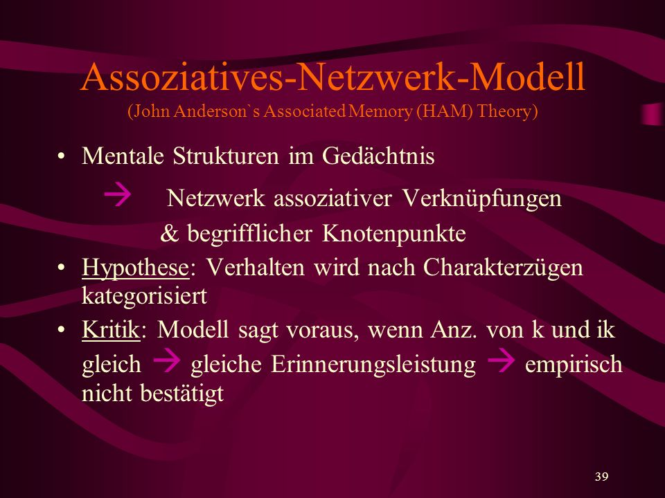 Assoziatives-Netzwerk-Modell (John Anderson`s Associated Memory (HAM) Theory)