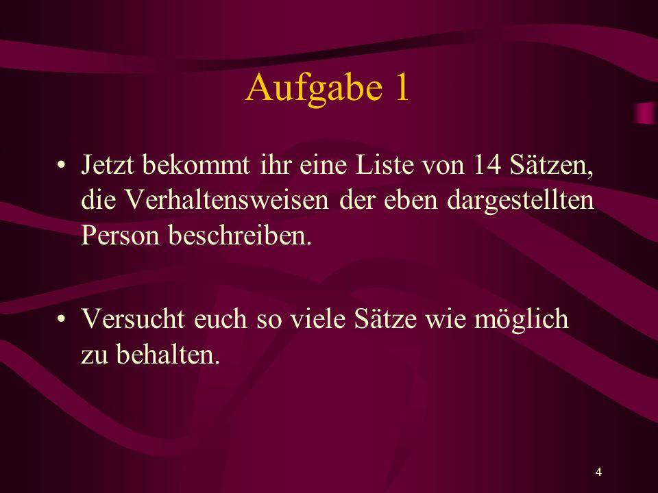 Aufgabe 1Jetzt bekommt ihr eine Liste von 14 Sätzen, die Verhaltensweisen der eben dargestellten Person beschreiben.