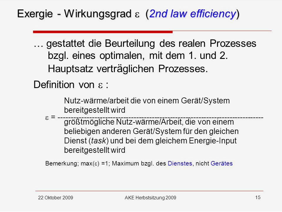 Exergie - Wirkungsgrad  (2nd law efficiency)