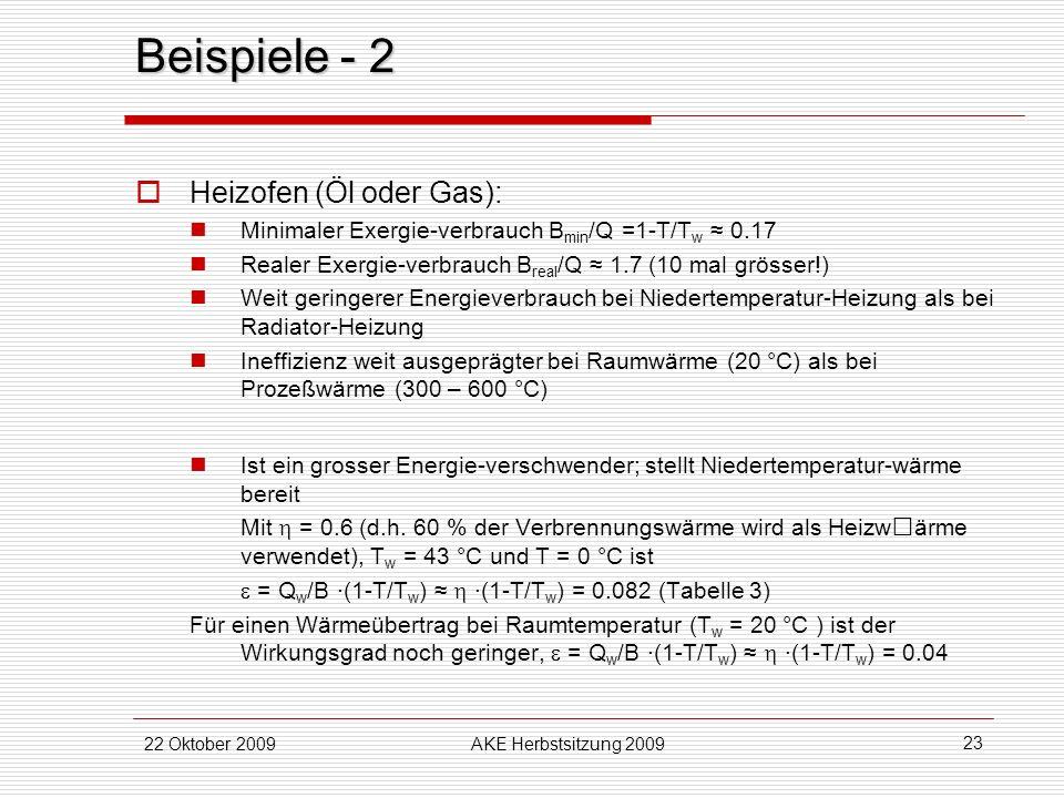 Beispiele - 2 Heizofen (Öl oder Gas):
