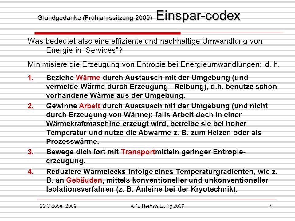 Grundgedanke (Frühjahrssitzung 2009) Einspar-codex