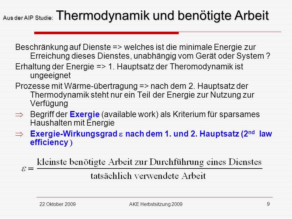 Aus der AIP Studie: Thermodynamik und benötigte Arbeit