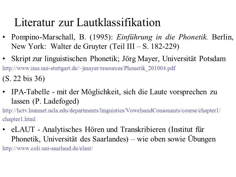 Literatur zur Lautklassifikation