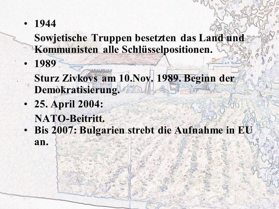 1944 Sowjetische Truppen besetzten das Land und Kommunisten alle Schlüsselpositionen. 1989.