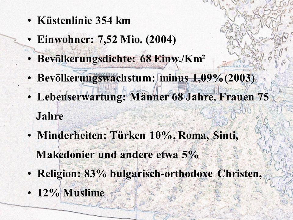 Küstenlinie 354 km Einwohner: 7,52 Mio. (2004) Bevölkerungsdichte: 68 Einw./Km². Bevölkerungswachstum: minus 1,09%(2003)