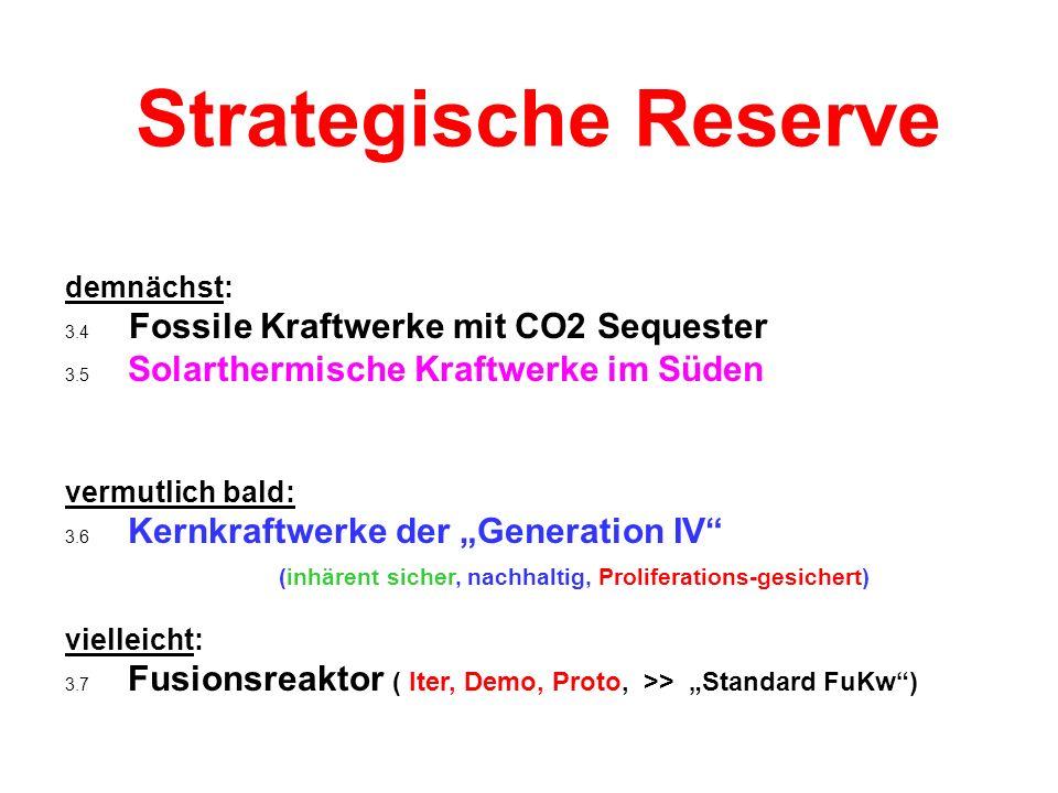 Strategische Reserve demnächst: 3.4 Fossile Kraftwerke mit CO2 Sequester. 3.5 Solarthermische Kraftwerke im Süden.