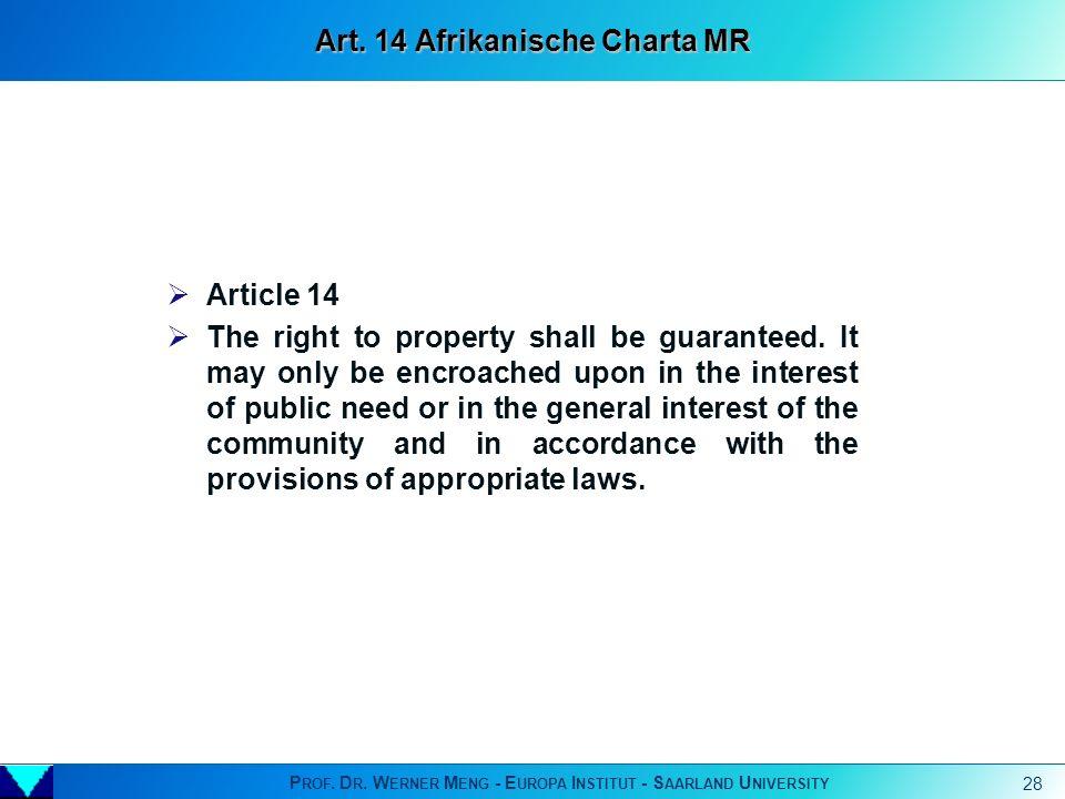 Art. 14 Afrikanische Charta MR