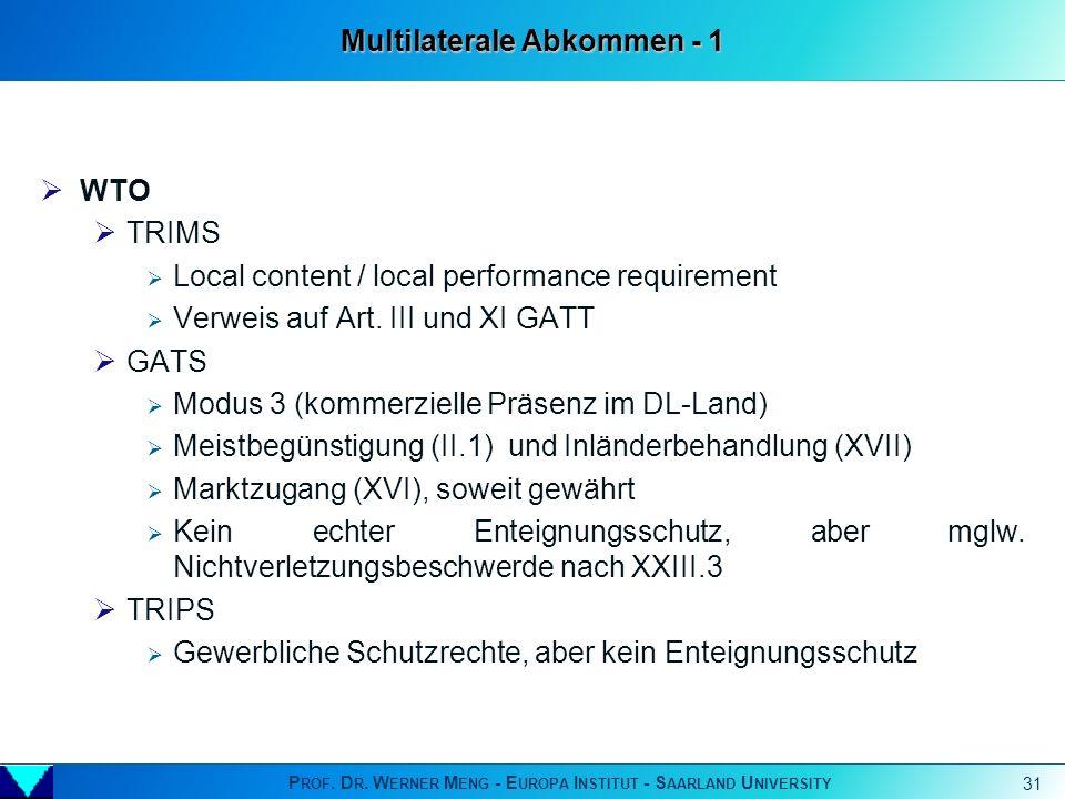 Multilaterale Abkommen - 1