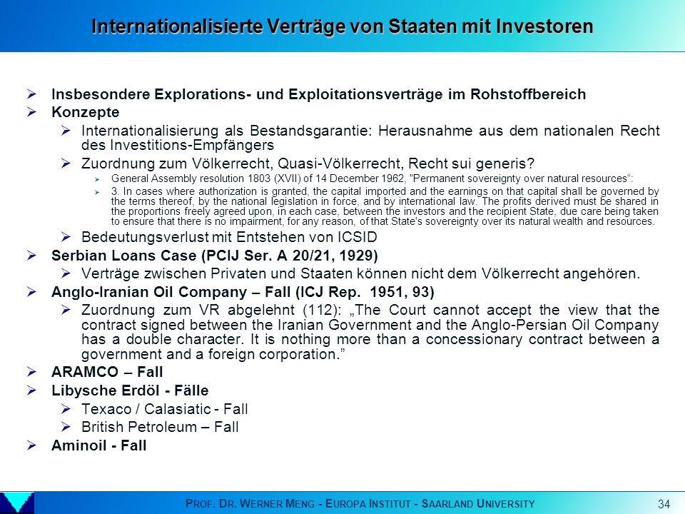 Internationalisierte Verträge von Staaten mit Investoren