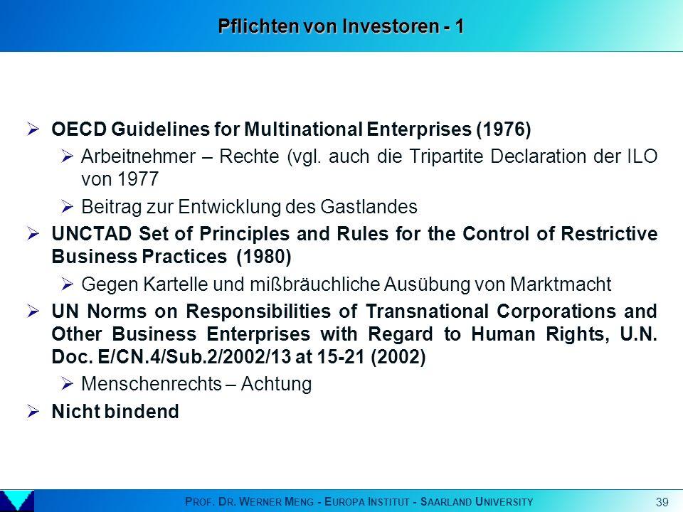 Pflichten von Investoren - 1
