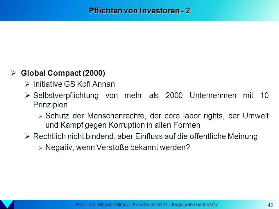 Pflichten von Investoren - 2
