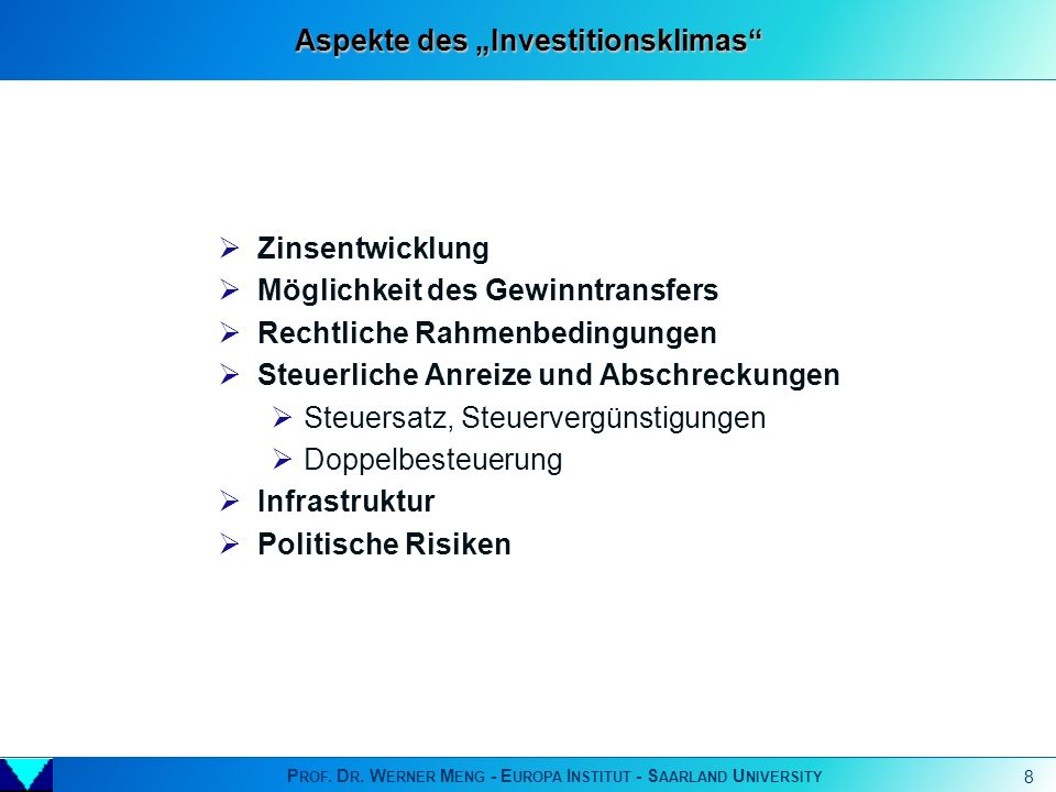 "Aspekte des ""Investitionsklimas"