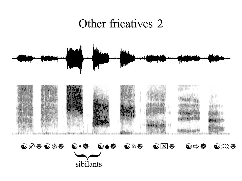 { Other fricatives 2 [f] [T] [s] [S] [C] [x] [] [h] sibilants