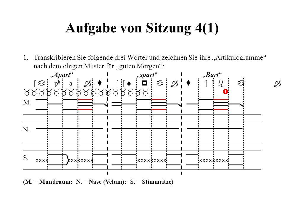 """Aufgabe von Sitzung 4(1) 1. Transkribieren Sie folgende drei Wörter und zeichnen Sie ihre """"Artikulogramme"""