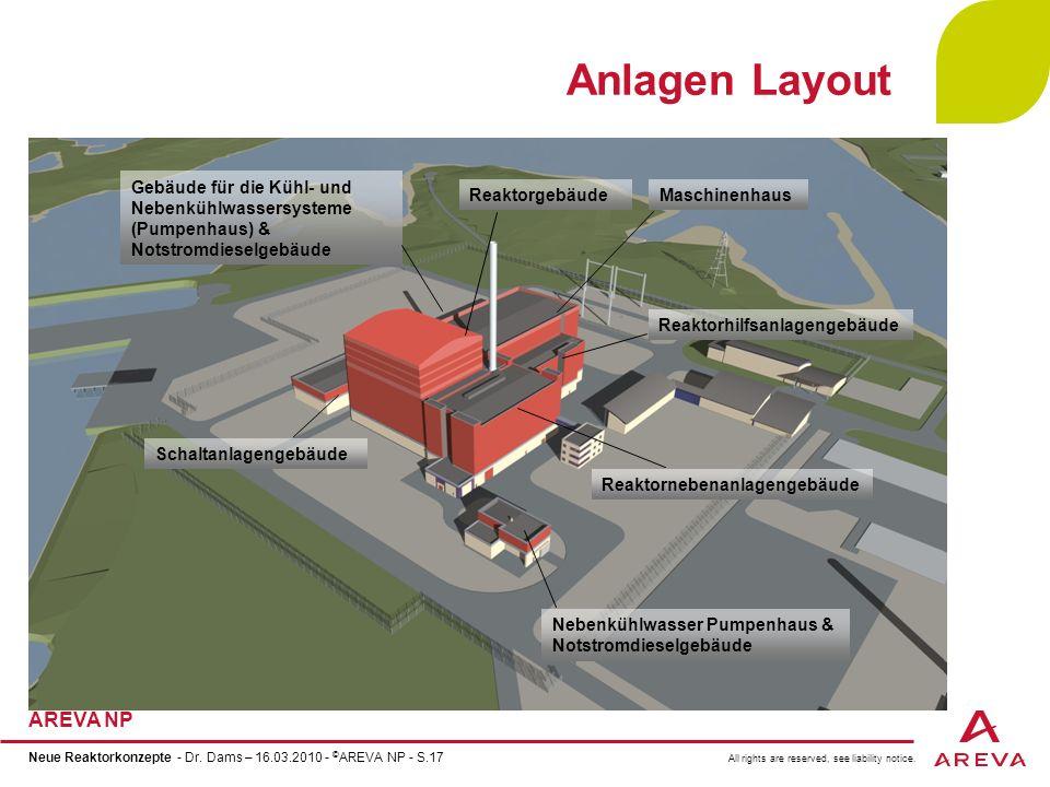 Anlagen Layout Gebäude für die Kühl- und Nebenkühlwassersysteme (Pumpenhaus) & Notstromdieselgebäude.