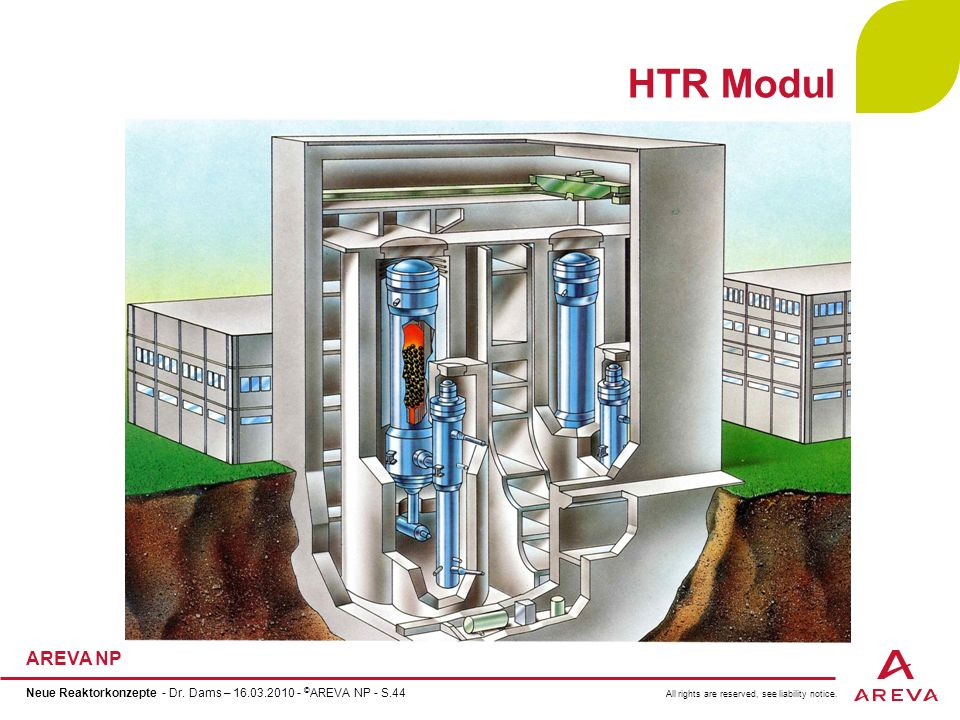 HTR Modul Neue Reaktorkonzepte - Dr. Dams – 16.03.2010 - ©AREVA NP - S.44 44