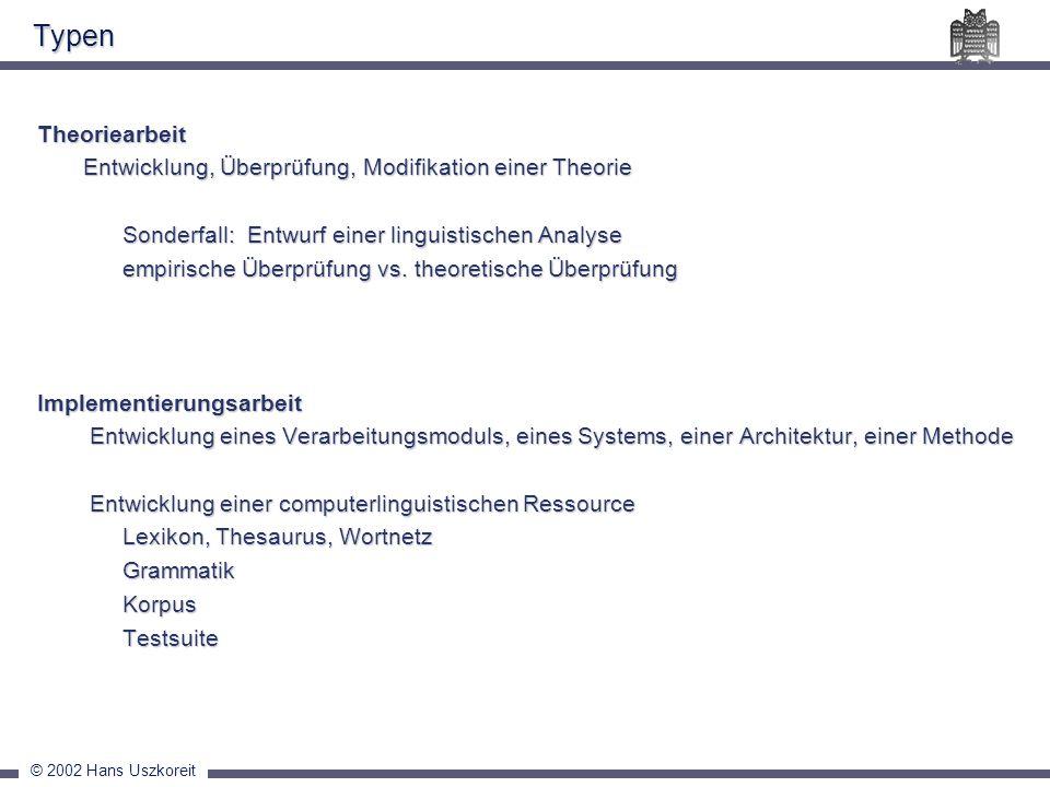 Typen Theoriearbeit. Entwicklung, Überprüfung, Modifikation einer Theorie. Sonderfall: Entwurf einer linguistischen Analyse.