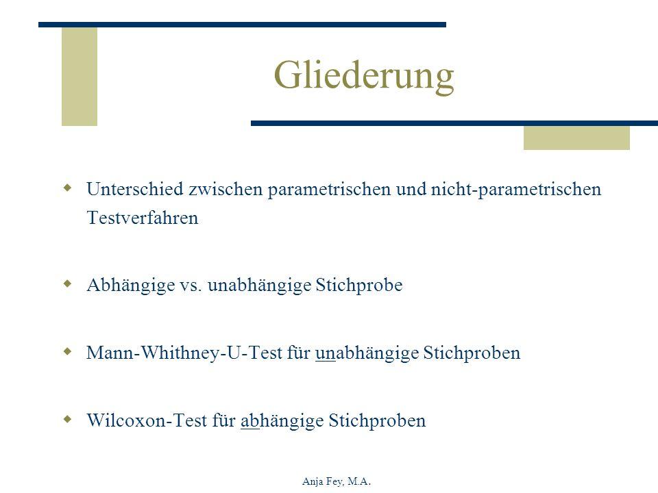 Gliederung Unterschied zwischen parametrischen und nicht-parametrischen Testverfahren. Abhängige vs. unabhängige Stichprobe.