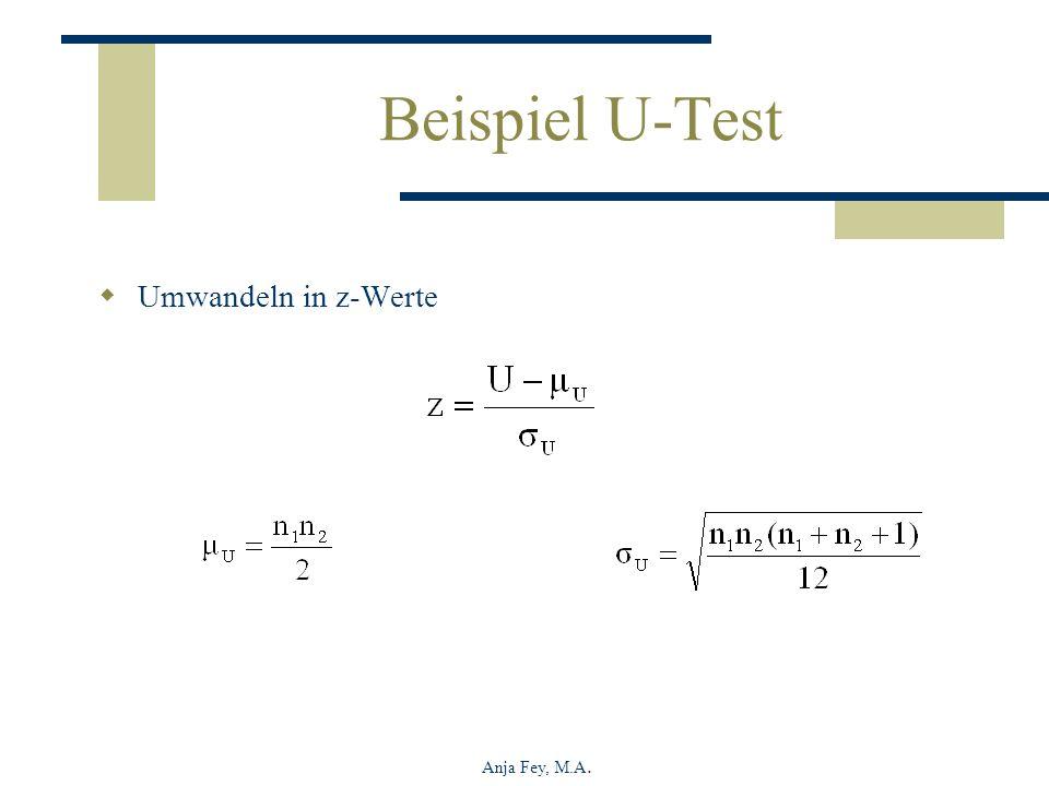 Beispiel U-Test Umwandeln in z-Werte Anja Fey, M.A.