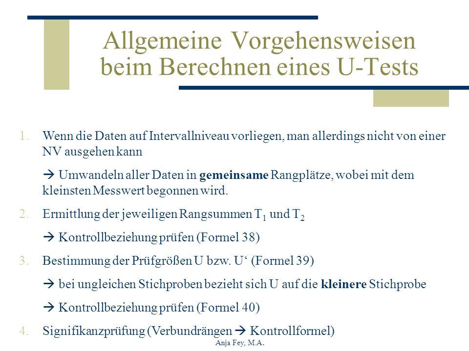 Allgemeine Vorgehensweisen beim Berechnen eines U-Tests