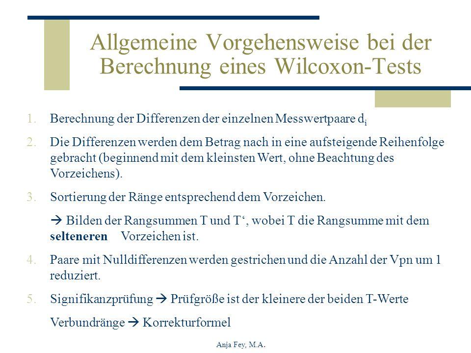 Allgemeine Vorgehensweise bei der Berechnung eines Wilcoxon-Tests
