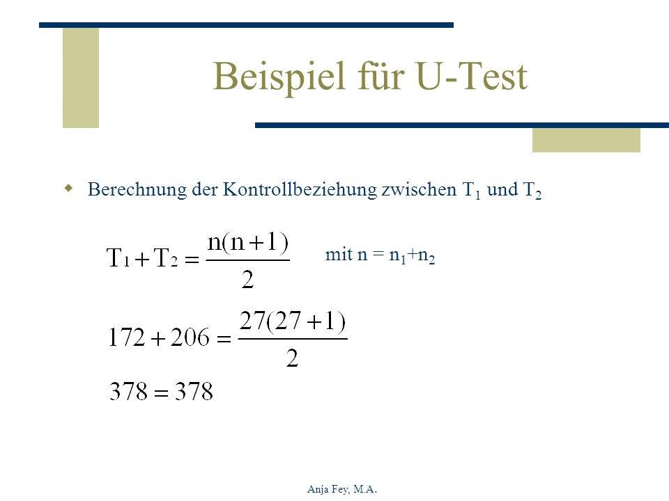 Beispiel für U-Test Berechnung der Kontrollbeziehung zwischen T1 und T2.