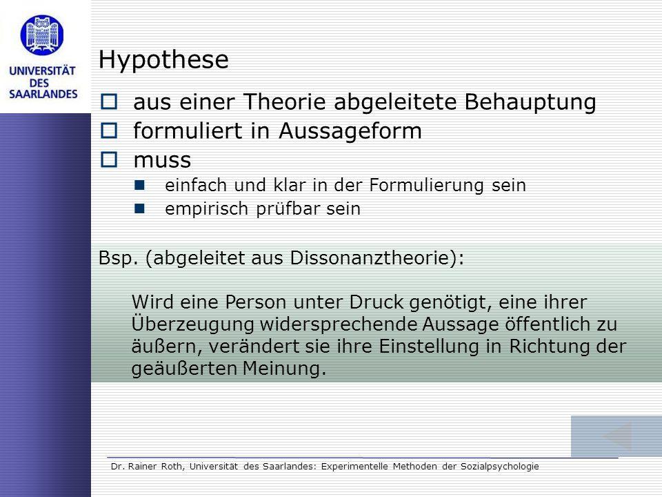Hypothese aus einer Theorie abgeleitete Behauptung