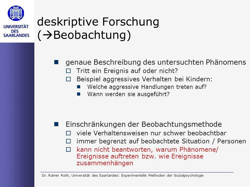 deskriptive Forschung (Beobachtung)