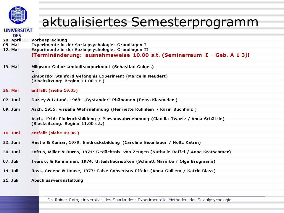 aktualisiertes Semesterprogramm