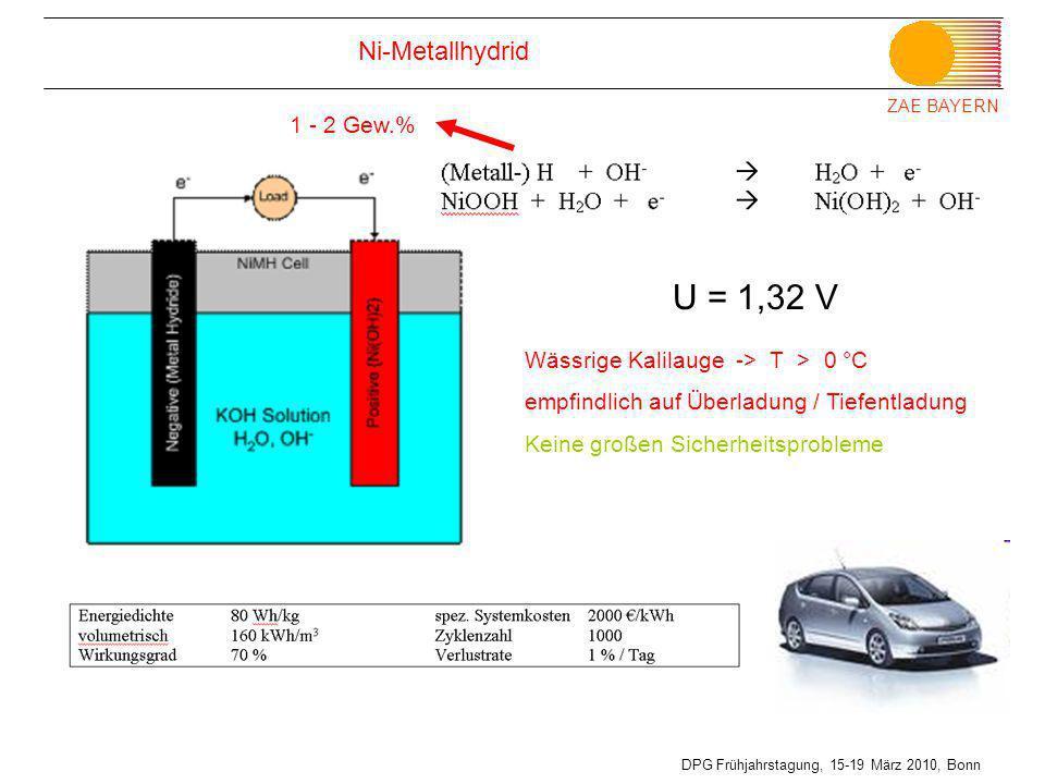 U = 1,32 V Ni-Metallhydrid 1 - 2 Gew.%