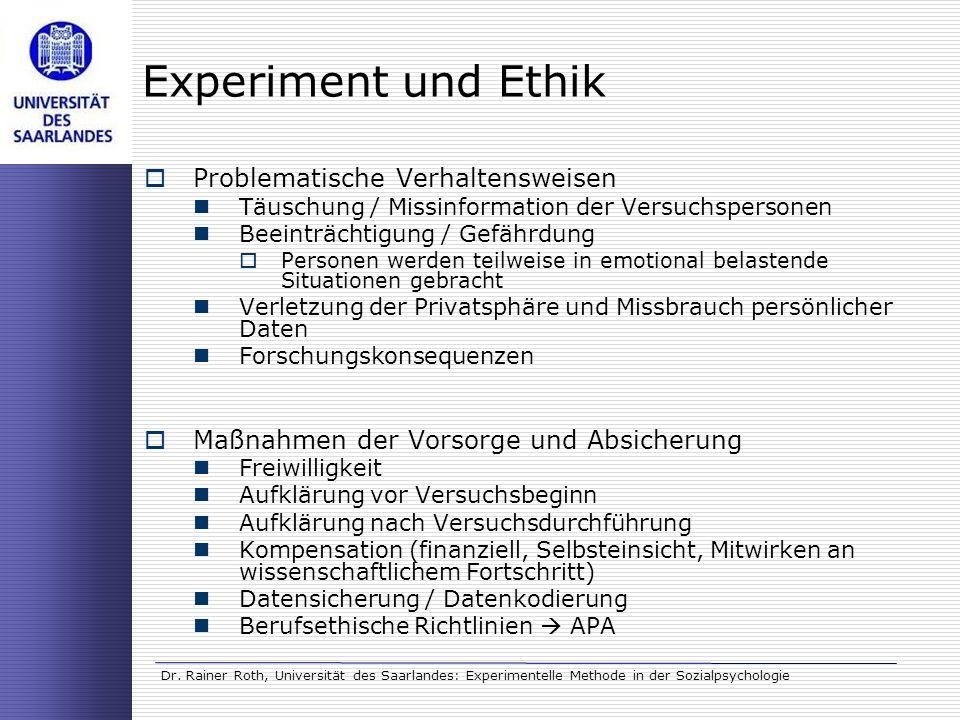 Experiment und Ethik Problematische Verhaltensweisen