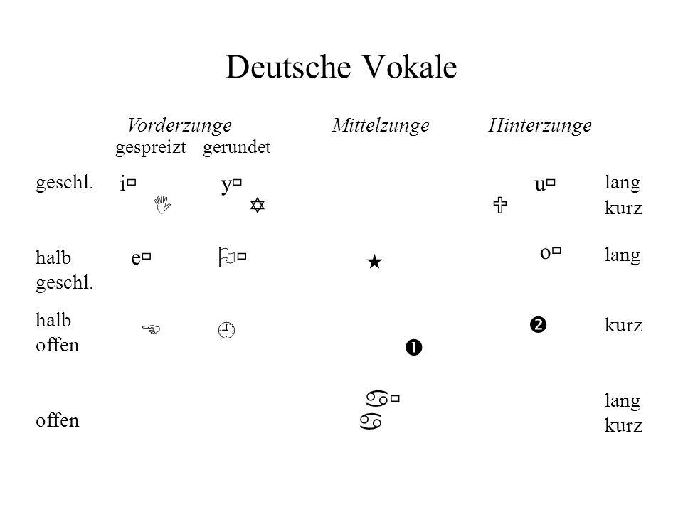 Deutsche Vokale i y u I Y U o e    E   a a