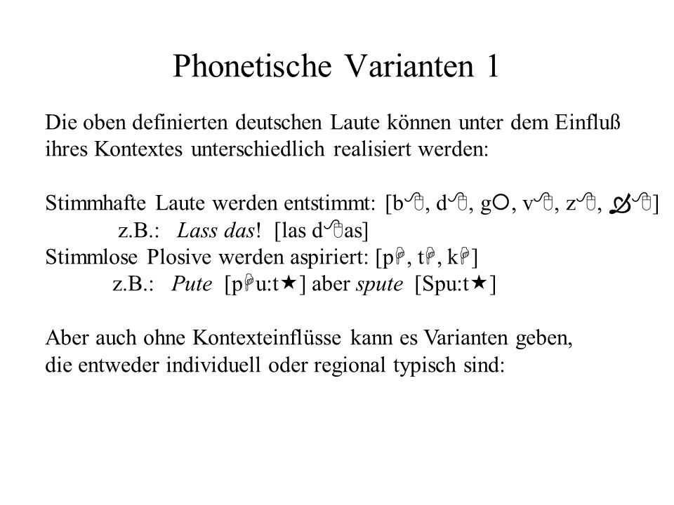Phonetische Varianten 1