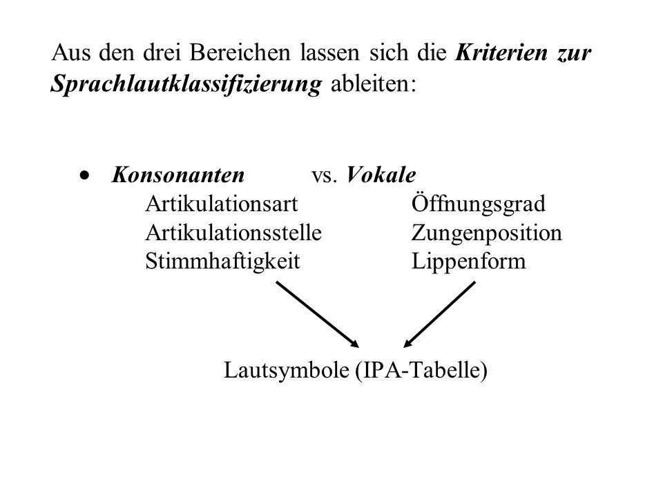 Aus den drei Bereichen lassen sich die Kriterien zur Sprachlautklassifizierung ableiten: